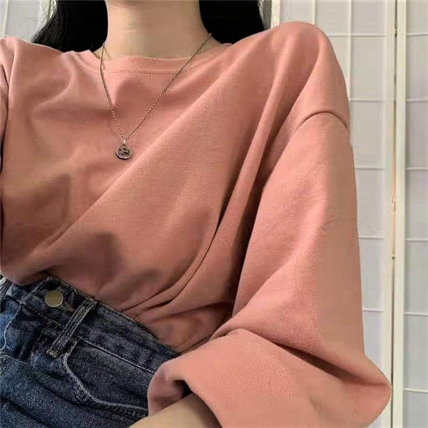Round neck Basic Long Sleeve Pullover