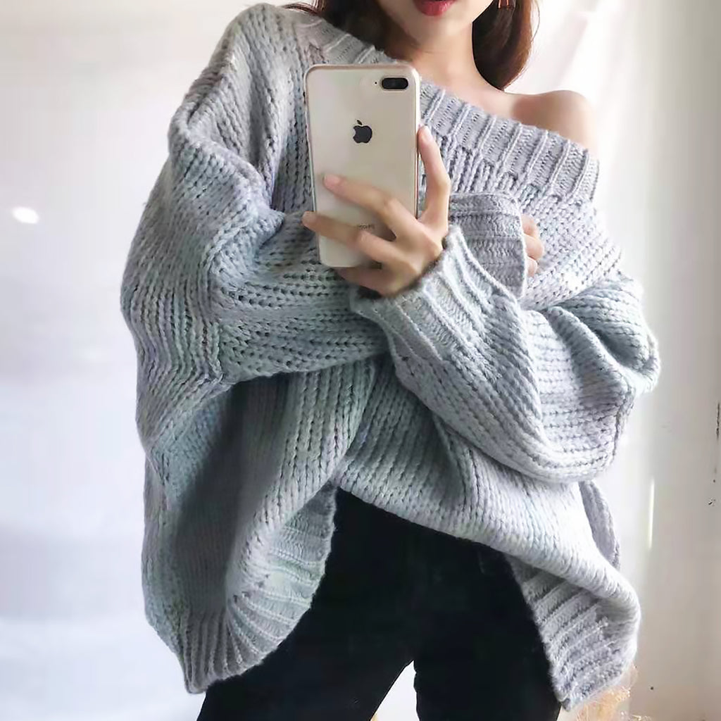 Oversized Single Tone Cable Knit Sweater