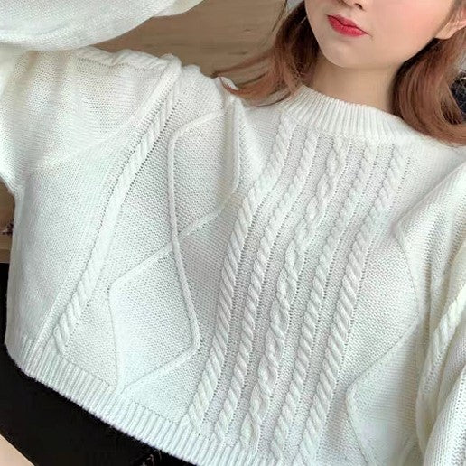 Braid Cropped Sweater
