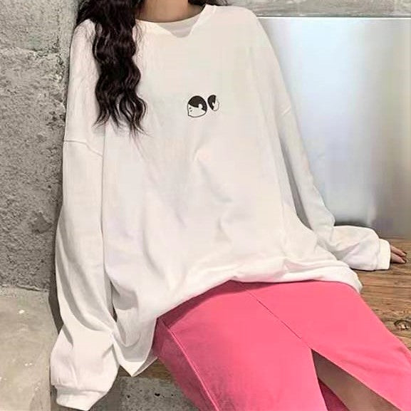 Cartoon Print Long Sleeve Pullover