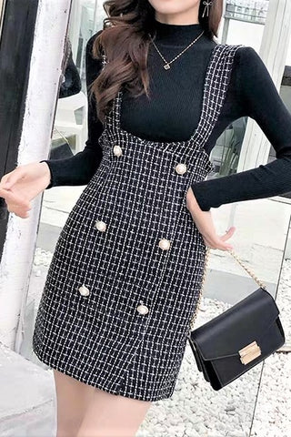 Checked Strap Pinafore Mini Skirt