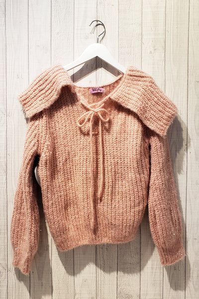 Drawstring Neckline Frilled Collar Knitted Sweater