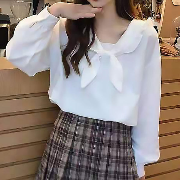 Frilled Trim Single Tone Long Sleeve Blouse