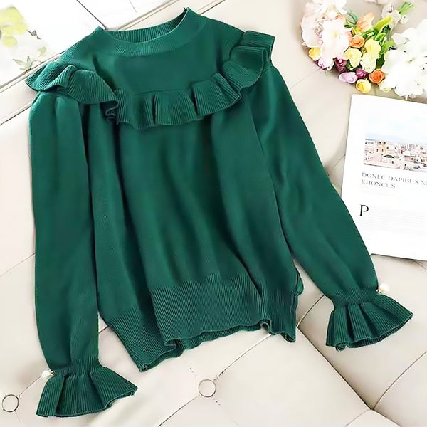 Frilled Trim Knit Top