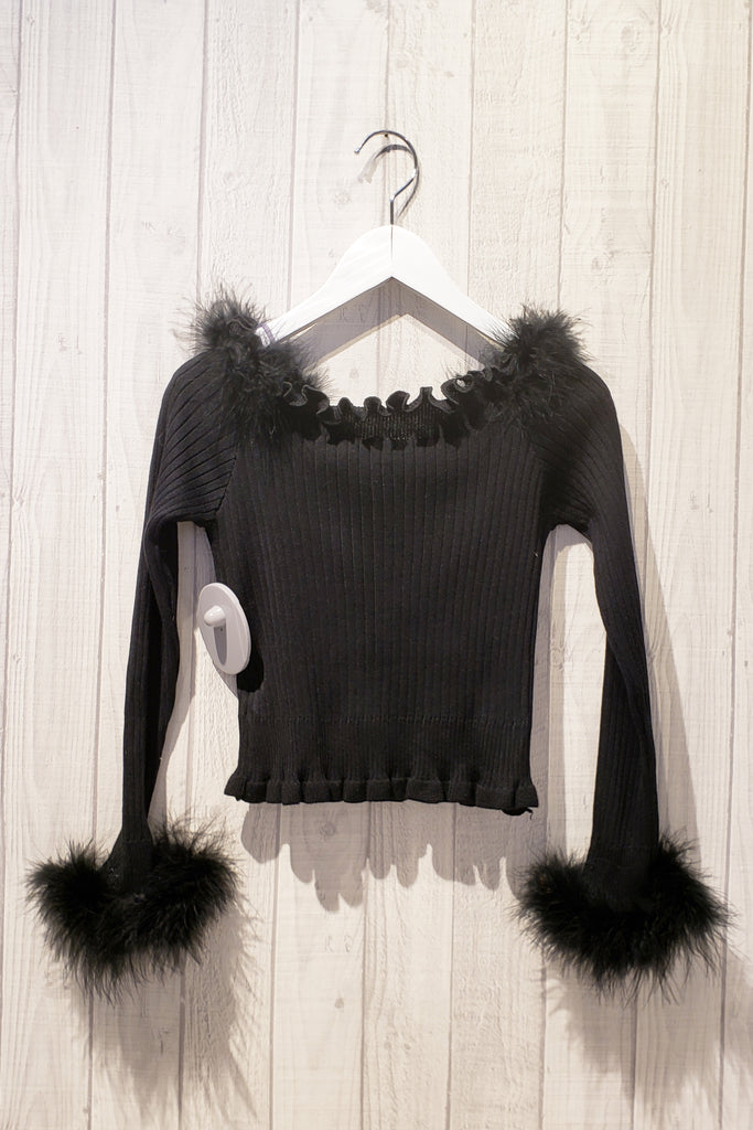 Feather Textured Long Sleeve Top