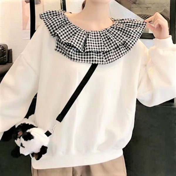 Check Printed Frilled Collar Top
