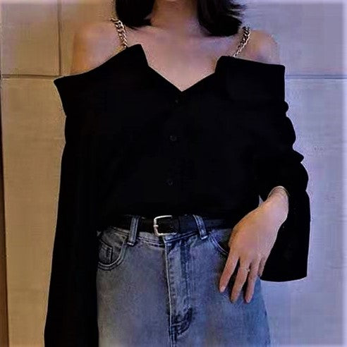 Chain Strap Open-shoulder Blouse