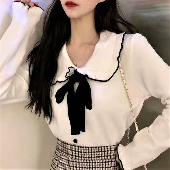 Frilled Trim Collar Ribbon Neck Knitted Top