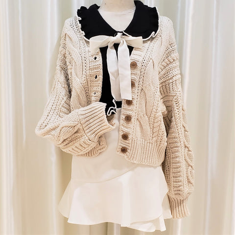 Cable Knit Button-Down Cardigan