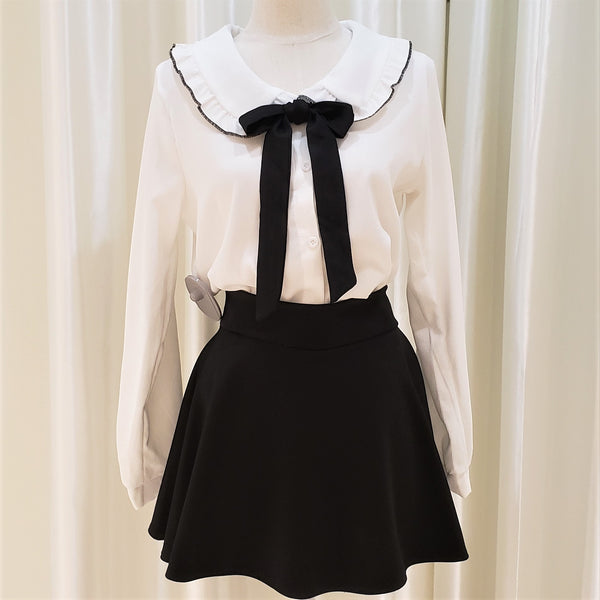 Round neck Front-Bow Shirt