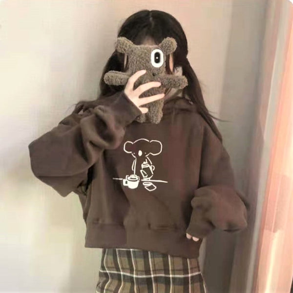 Cartoon Print Cropped Hooded Sweatshirt
