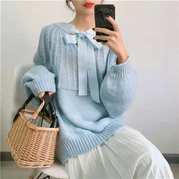 Self-Tie Bow Collar Sweater
