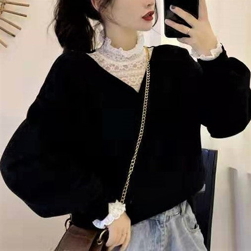 Fake Two Piece Lace High Neck Sweatshirt