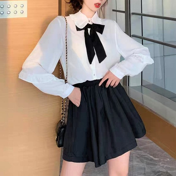 Frilled Middy Collar Front-Bow Shirt