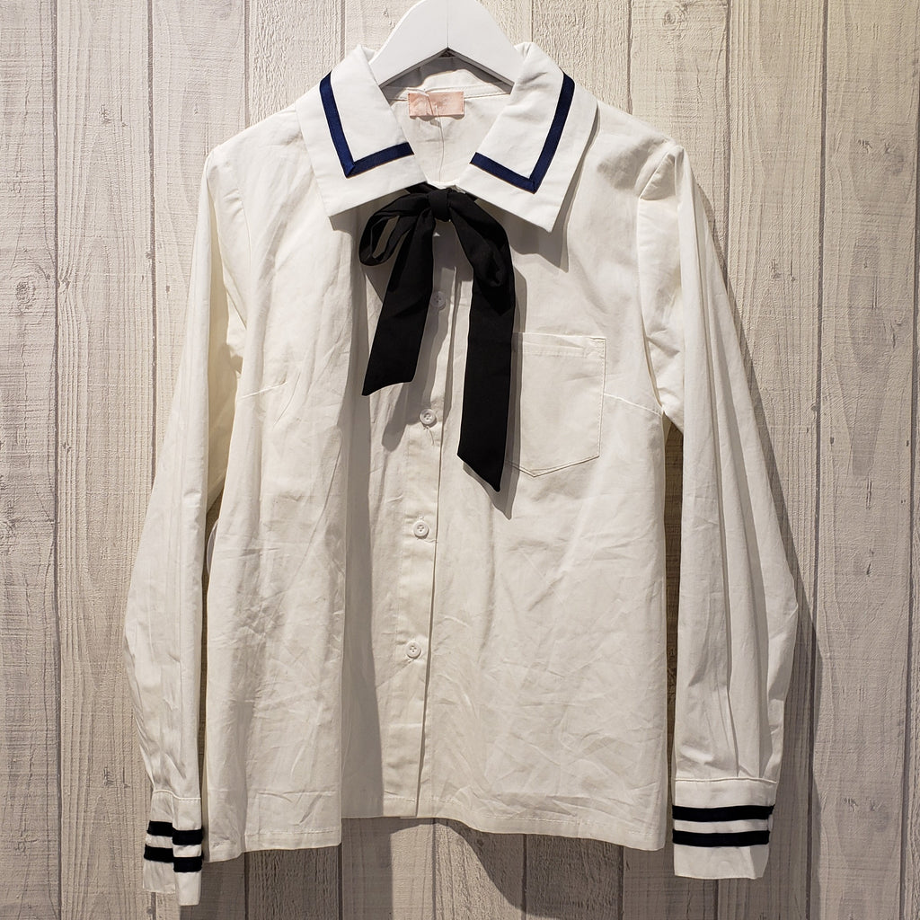Bow Neck Stripe Trim Shirt