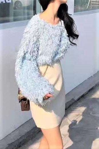 Feather Textured Fluffy Blouse