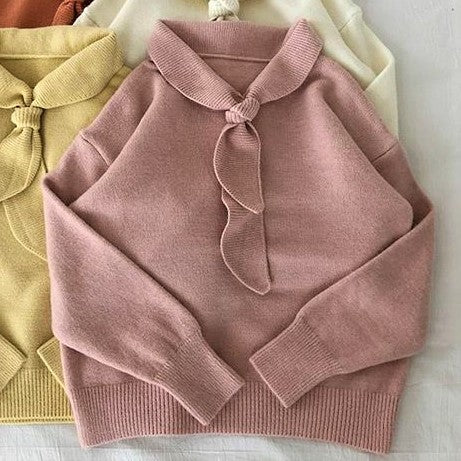 Sailor Collar Self-Tie Bow Knit Top