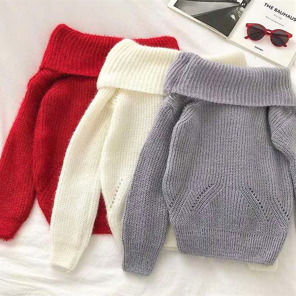 Knitted Off-shoulder Sweater