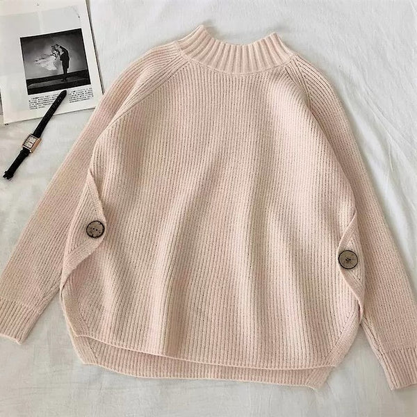Knitted Mock Neck Sweater
