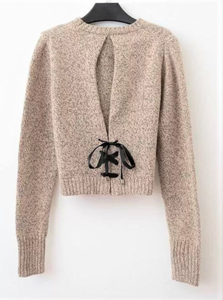 Drawstring Knitted Round neck Sweater
