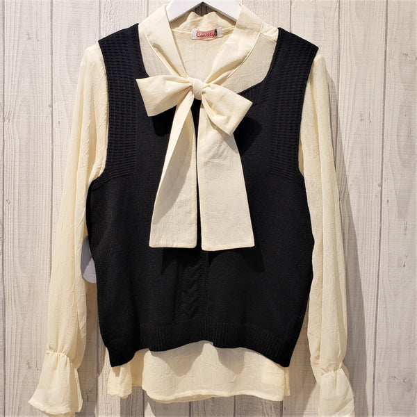 Bow Neck Frilled Trim Sleeve Top and Vest Set