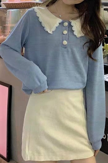 Frilled Collar Lace Trim Buttoned Front Blouse
