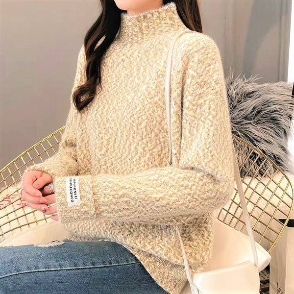 Turtleneck Color  Weave Sweater
