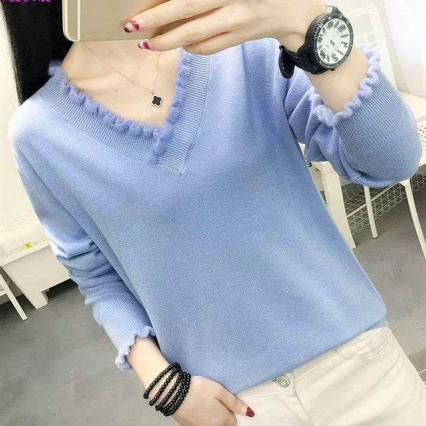 Frilled Collar V neck Basic Top