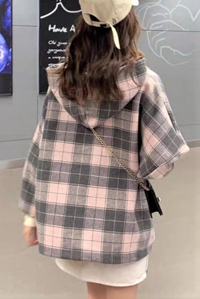 Fake Two Piece Check Printed Hooded Top