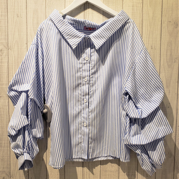Frilled Collar Bishop Sleeve Stripe Print Shirt