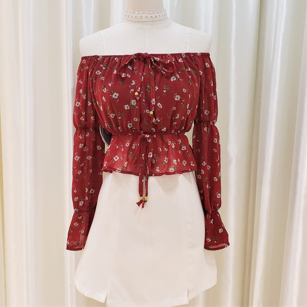 Floral Print Flared Sleeve Off-shoulder Blouse