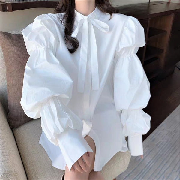 Layered Balloon Sleeve Bow Neck Blouse