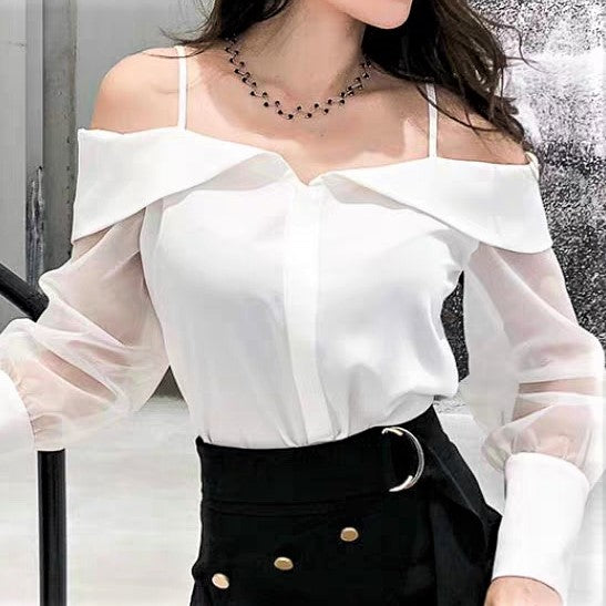 Strap Sheer Lace Sleeve Cold Shoulder Blouse