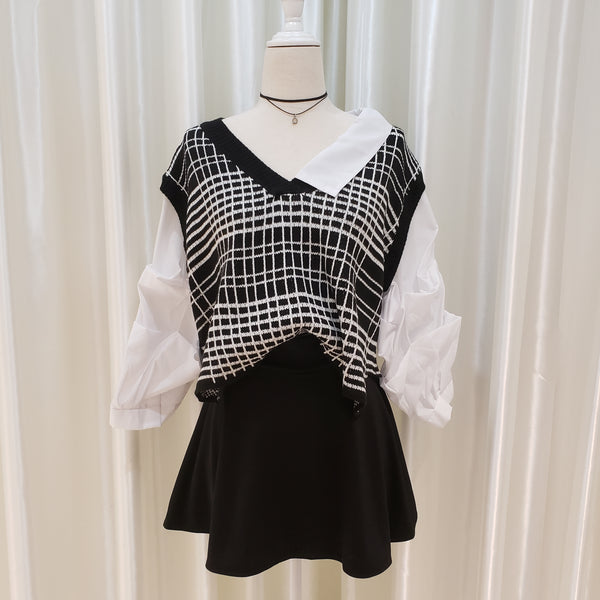 Asymmetrical Collar Check Printed Fake Two Piece Top