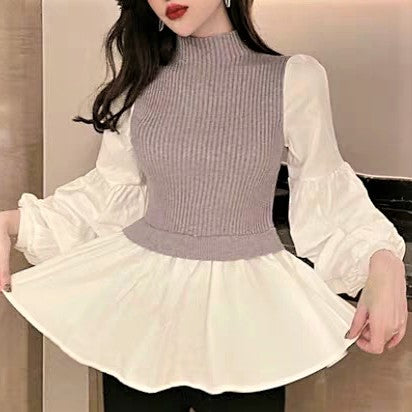 Faux Layered Bishop Sleeve Blouse