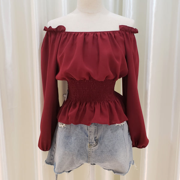 Frilled Collar Elastic Waist Open Shoulder Top