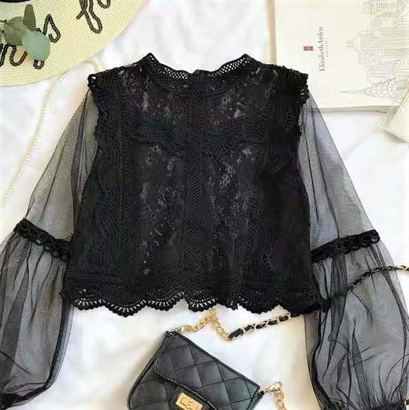 Sheer Lace Bishop Sleeve Top