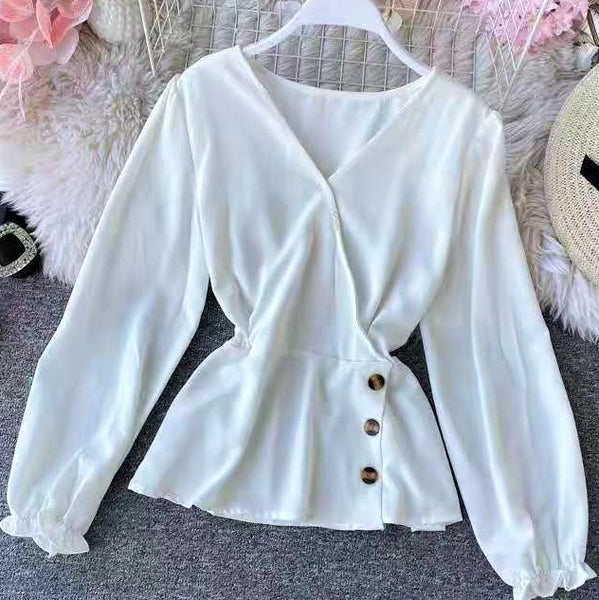 V neck Ruffle Sleeve Side Button Blouse