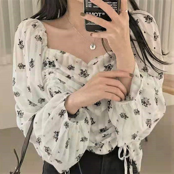 Drawstring Floral Print Frilled Collar Blouse