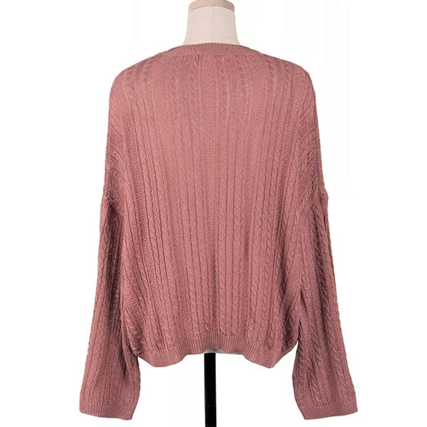 Ribbed Knit Round neck Knit Top