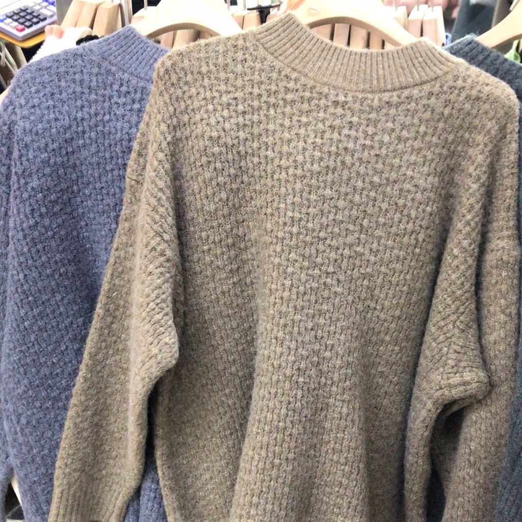 Ribbed Knit Round neck Sweater