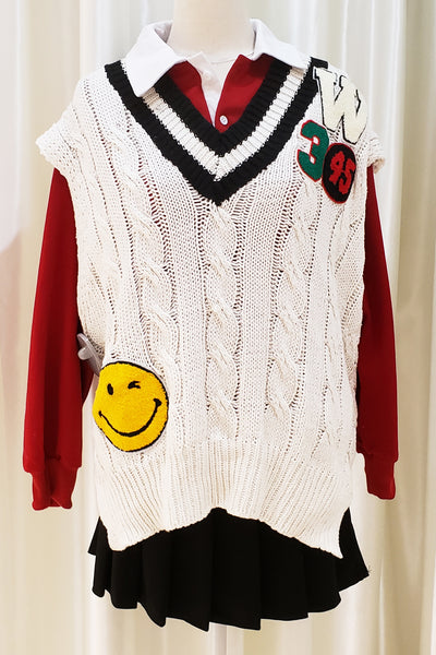 Graphic Embroidered Cable Knit Vest