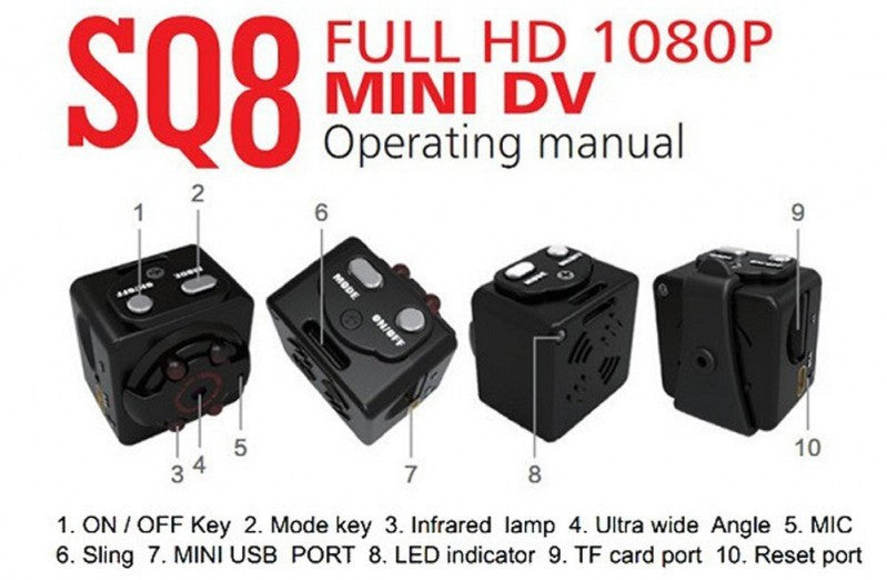 SQ8  HD Mini Camera with 12m Infrared Night Vision