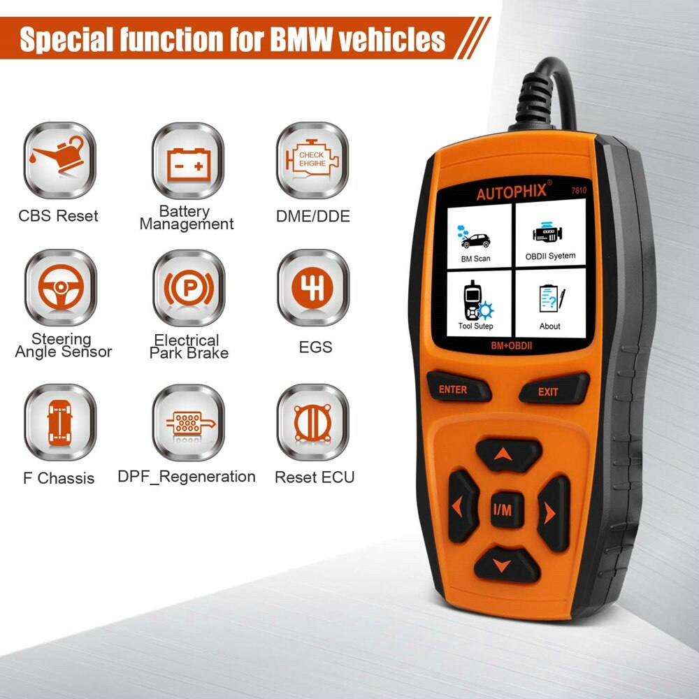 Autophix 7810 Car Diagnostic Scanner for BMW & OBD2 Systems - ABS, Airbags, A/T & other controls