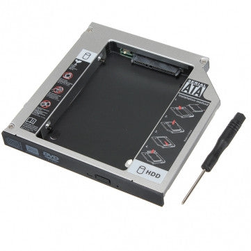 "Aluminum Universal SATA 2nd HDD Caddy 12.7 mm 2.5"" Case Hard Drive Enclosure - Awesome Imports"