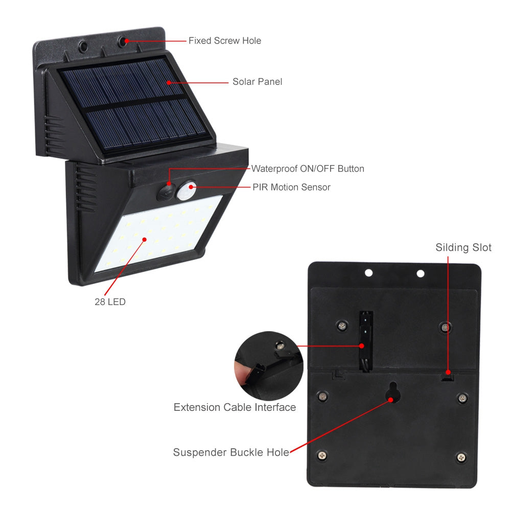Mihuis 28 LED Detachable Solar Motion Sensor Security Outdoor Wall Floodlight
