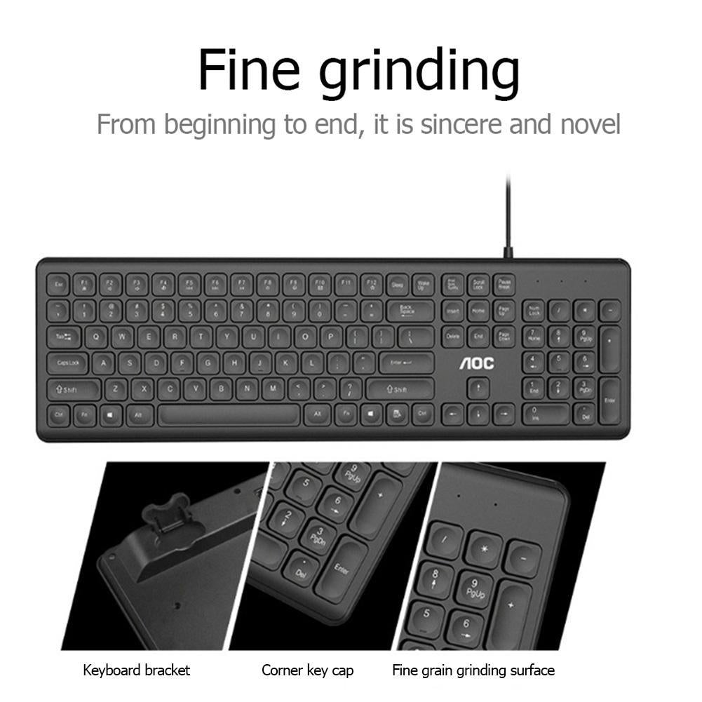 AOC KB100 Wired Silent 106 Keys Ergonomic USB Keyboard