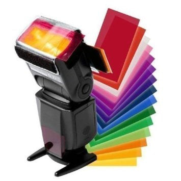 12 Color Fliter Flash Speedlite Sheets with Velcro Holder - Awesome Imports