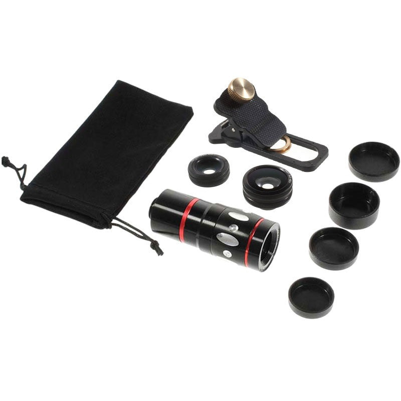 Universal 4-in-1 Smartphone Lens Kit - Black