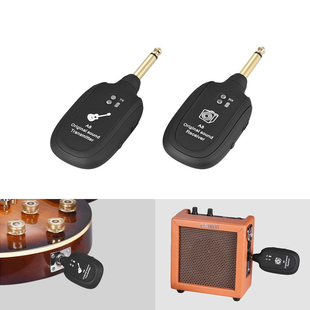 Techme A8 Rechargeable UHF Guitar Wireless System Transmitter Receiver